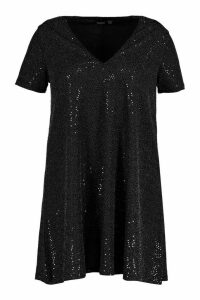 Womens Plus Sequin Oversized T-Shirt Dress - black - 20, Black