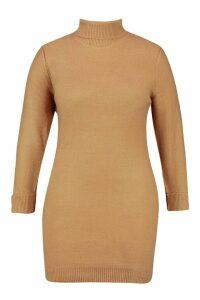 Womens Plus Rib Knit Roll Neck Jumper Dress - beige - 20, Beige