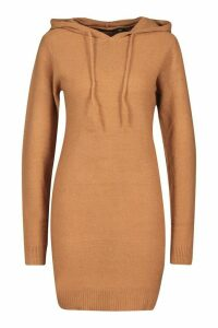 Womens Long Sleeve Knitted Dress With Hood - beige - M, Beige