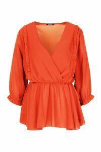 Womens Ruffle Front Wrap Top - orange - 10, Orange