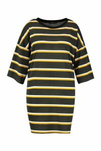 Womens Plus Striped Ringer T-Shirt Dress - black - 24-26, Black