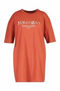 Womens Plus Ye Saint Oversized Slogan T-Shirt Dress - orange - 20, Orange