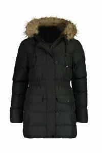 Womens Faux Fur Trim Sporty Parka - black - 8, Black
