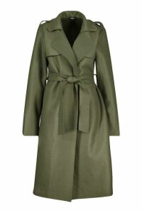 Womens Trench dressing gown Belt Wool Look Coat - green - 12, Green