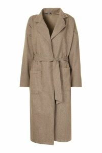Womens Tonal Check Belted Wool Look Coat - brown - 12, Brown