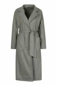 Womens Stripe Belted Wool Look Coat - grey - 14, Grey