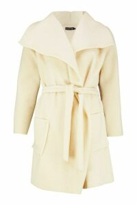 Womens Brushed Wool Look Belted Coat - white - 14, White