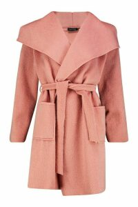 Womens Brushed Wool Look Belted Coat - pink - 12, Pink