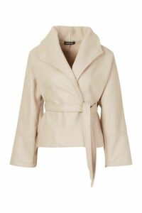 Womens Wide Collar Belted Short Wool Look Coat - beige - 14, Beige
