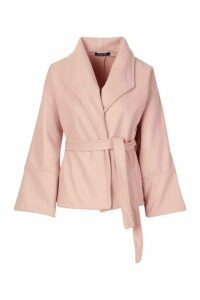 Womens Wide Collar Belted Short Wool Look Coat - pink - 14, Pink