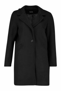 Womens Tailored Wool Look Coat - black - 10, Black