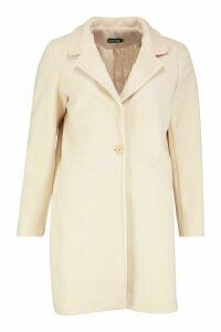 Womens Tailored Wool Look Coat - beige - 14, Beige