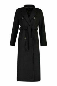 Womens Longline Double Breasted Belted Wool Look Coat - black - 8, Black