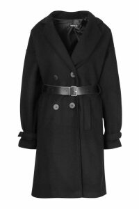 Womens Pu Belted Trench Wool Look Coat - black - 14, Black