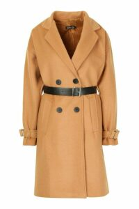 Womens Pu Belted Trench Wool Look Coat - beige - 14, Beige