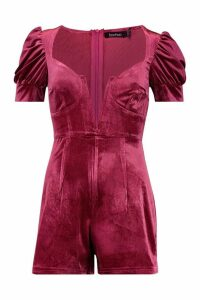 Womens Deep Plunge Velvet puff Sleeve Playsuit - pink - 16, Pink