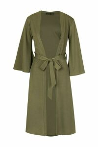 Womens Belted Duster Coat - green - 12, Green