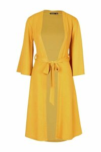 Womens Belted Duster Coat - yellow - 14, Yellow