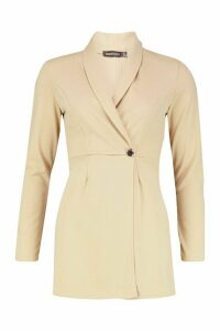 Womens Tailored Blazer Playsuit - beige - 14, Beige