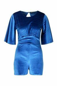 Womens Flared Sleeve Velvet Playsuit - blue - 16, Blue