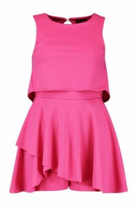 Womens Double Layer Playsuit Dress - Pink - 16, Pink