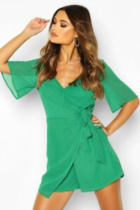 Womens Ruffle Wrap Chiffon Playsuit - green - 16, Green