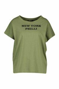 Womens Slogan Graphic Print Philli T-Shirt - green - M, Green