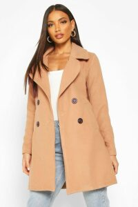 Womens Double Breasted Collared Wool Look Coat - beige - 14, Beige