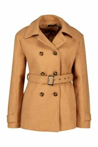 Womens Double Breasted Wool Look Coat - beige - 14, Beige