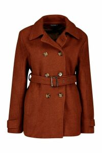 Womens Double Breasted Wool Look Coat - brown - 14, Brown