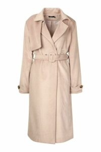 Womens Brushed Wool Look Trench Coat - pink - 14, Pink