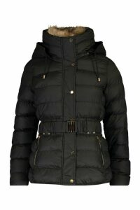 Womens Belted Faux Fur Trim Parka - black - 14, Black