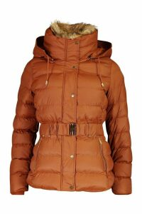 Womens Belted Faux Fur Trim Parka - brown - 8, Brown