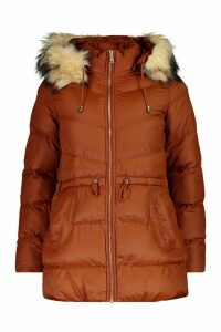 Womens Faux Fur Trim Parka - brown - 16, Brown