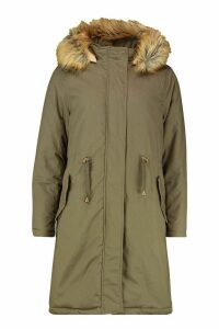 Womens Faux Fur Trim Longline Parka - green - 14, Green
