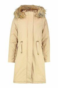 Womens Faux Fur Trim Longline Parka - beige - 16, Beige