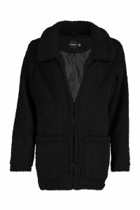 Womens Double Pocket Teddy Faux Fur Coat - black - 14, Black