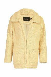 Womens Double Pocket Teddy Faux Fur Coat - Brown - 16, Brown
