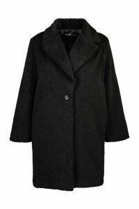 Womens Plus Soft Faux Fur Oversized Coat - black - 20, Black