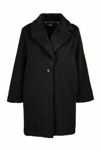 Womens Plus Soft Faux Fur Oversized Coat - black - 24, Black