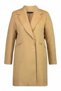 Womens Plus Zip Front Oversized Wool Look Coat - beige - 20, Beige