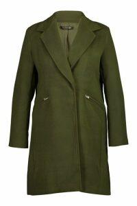 Womens Plus Zip Front Oversized Wool Look Coat - green - 20, Green