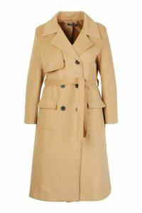 Womens Plus Tailored Self Belted Longline Coat - beige - 20, Beige