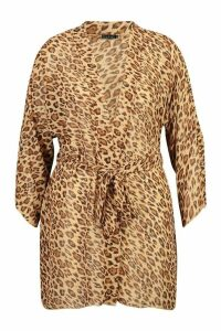 Womens Plus Leopard Print Belted Kimono - brown - 20, Brown