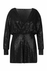 Womens Plus Sequin Wrap Long Sleeve Flippy Playsuit - black - 22, Black