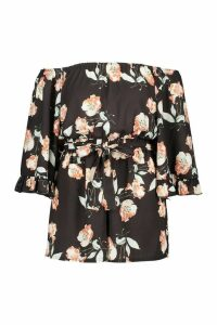 Womens Plus Dark Floral Off Shoulder Self Belt Playsuit - black - 20, Black