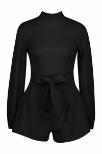 Womens Petite Open Back High Neck Playsuit - black - 14, Black