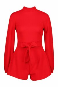 Womens Petite Open Back High Neck Playsuit - red - 12, Red