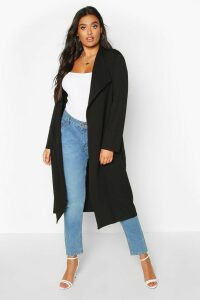 Womens Plus Pocket Thick Duster Coat - black - 20, Black