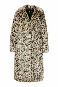 Womens Plus Leopard Faux Fur Longline Coat - brown - 20, Brown